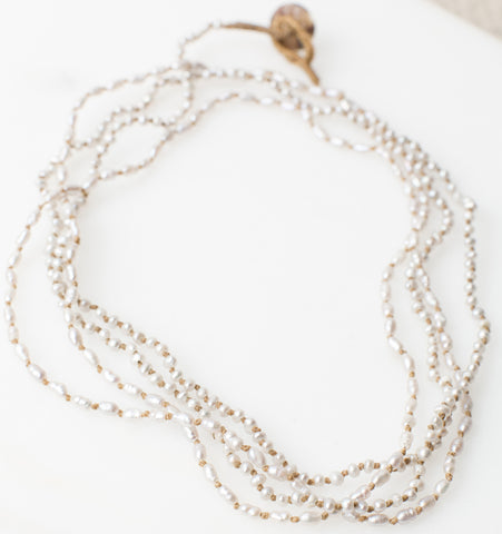 Lena Skadegard Knotted Tiny Pearl Necklace