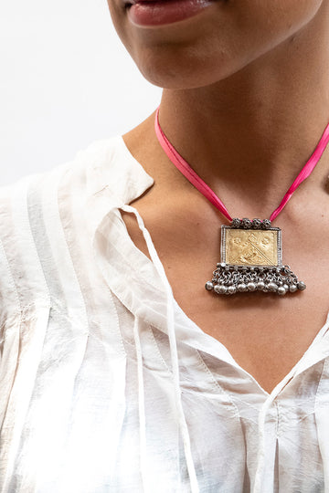 Silk Necklace w/Silver Pendant Pink #3