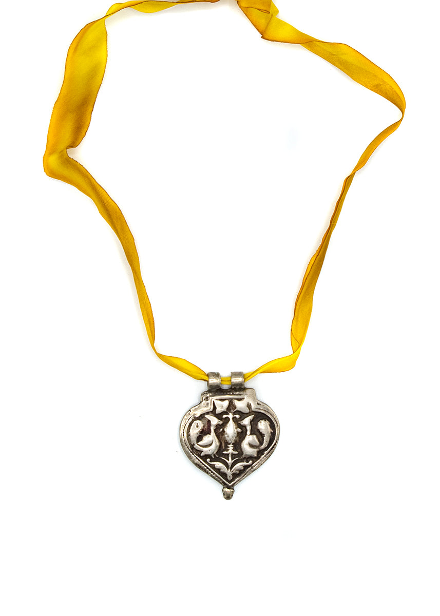 Silk Necklace w/Silver Pendant Yellow #4
