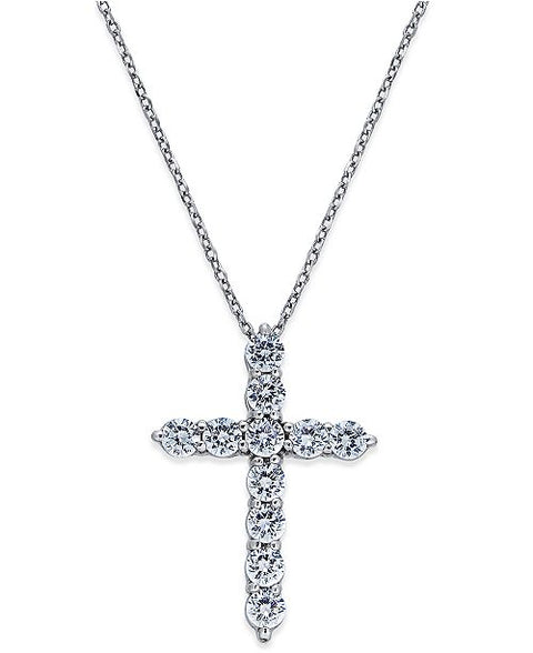 1.35ct Diamond Cross Pendant Necklace