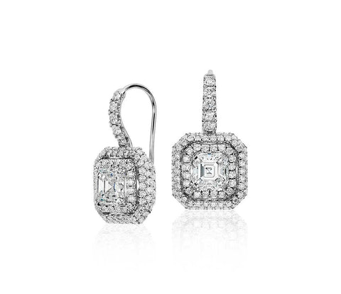Asscher-Cut DiamondHalo Drop Earrings, , Earring, D'Amore Jewelers, D'Amore Jewelers