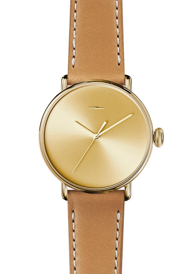 The Canfield Bolt 43mm 20mm Gold Sandblast Sunray Natural Leather Strap