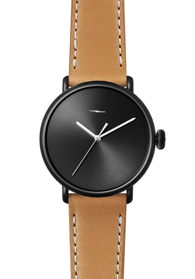 The Canfield Bolt 43mm 20mm Black PVD Natural Leather Strap