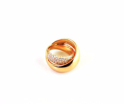 Rose Gold Pave Twisted Ring, , Ring, Oromalia, D'Amore Jewelers