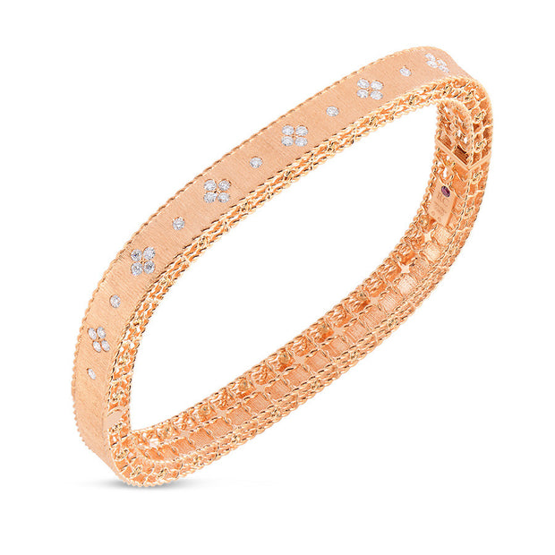 18K PRICESS SATIN FINISH BANGLE WITH DIAMONDS
