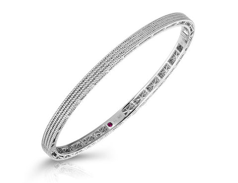 Symphony - New Barocco Bangle- White Gold, , Bracelet, Roberto Coin, D'Amore Jewelers