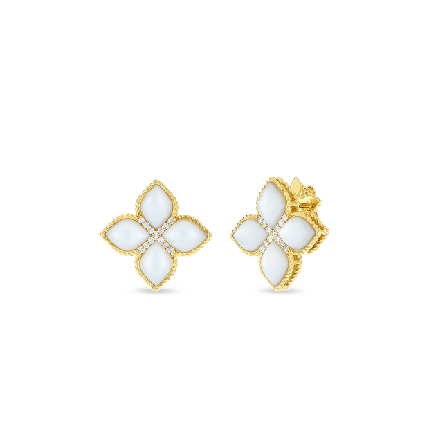 18KT LG MOTHER-OF-PEARL & DIAMOND STUD EARRING