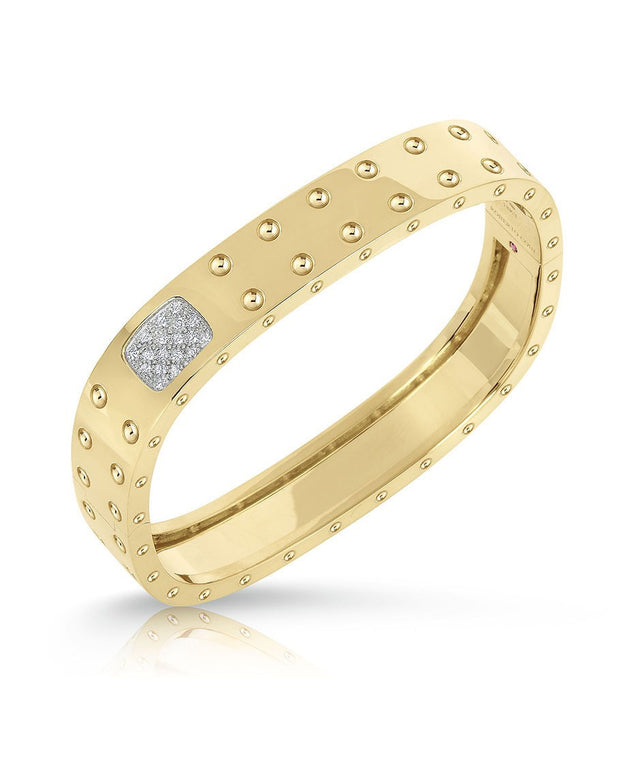 2-Row Yellow Gold Diamond Bangle, , Bracelet, Roberto Coin, D'Amore Jewelers