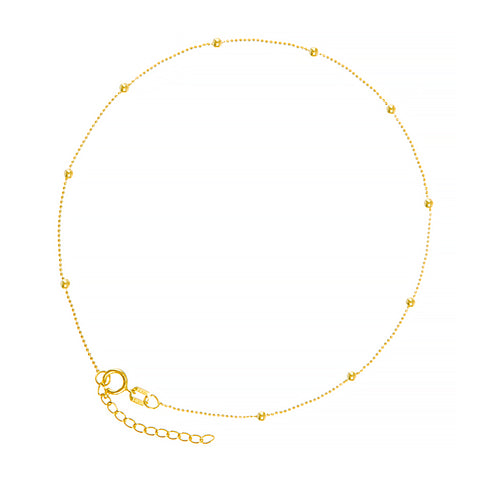 Yellow Gold Ball Chain Ankle Bracelet