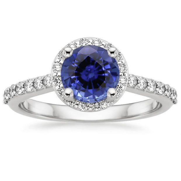Round Sapphire Ring with Diamond Halo