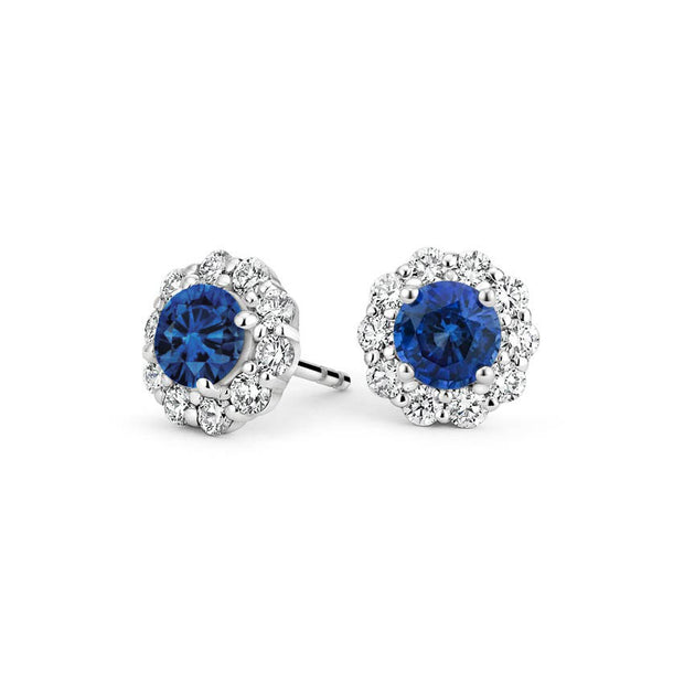 Round Sapphire Earrings with Diamond Halo