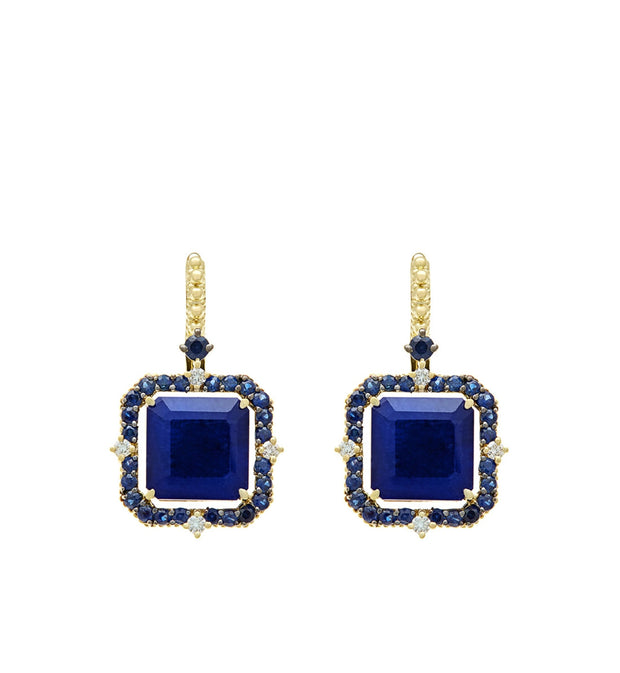 Lila Asscher Cut Lapis and Rock Crystal Quartz Drop Earrings, , Earring, Judith Ripka, D'Amore Jewelers  - 1