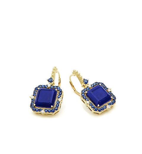 Lila Asscher Cut Lapis and Rock Crystal Quartz Drop Earrings, , Earring, Judith Ripka, D'Amore Jewelers  - 2