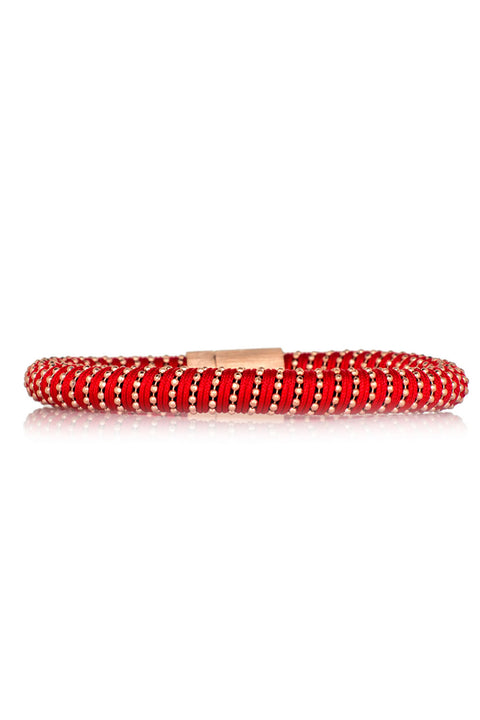 Twister Bracelet - Red Silk Yellow Gold