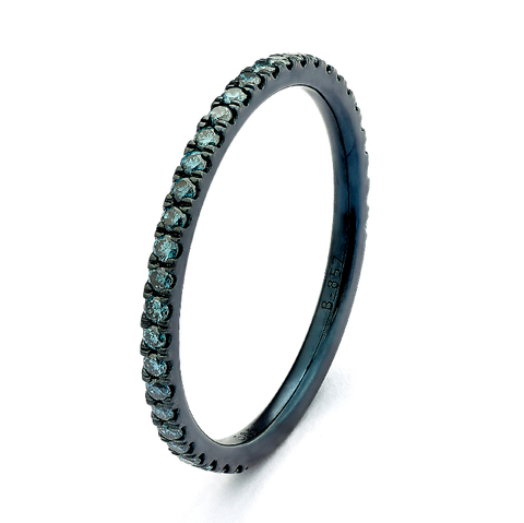 Blue Rhodium Gold Stackable Ring