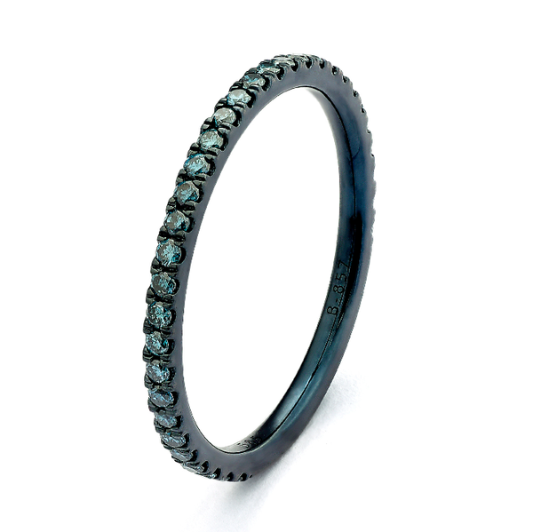 a5f46aad9d219a Blue Rhodium Gold Stackable Ring - D'Amore Jewelers