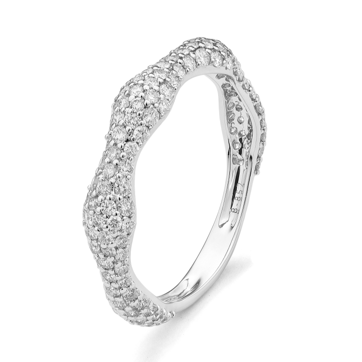 8bb896de7f74b1 White Gold Wave Stackable Ring - D'Amore Jewelers