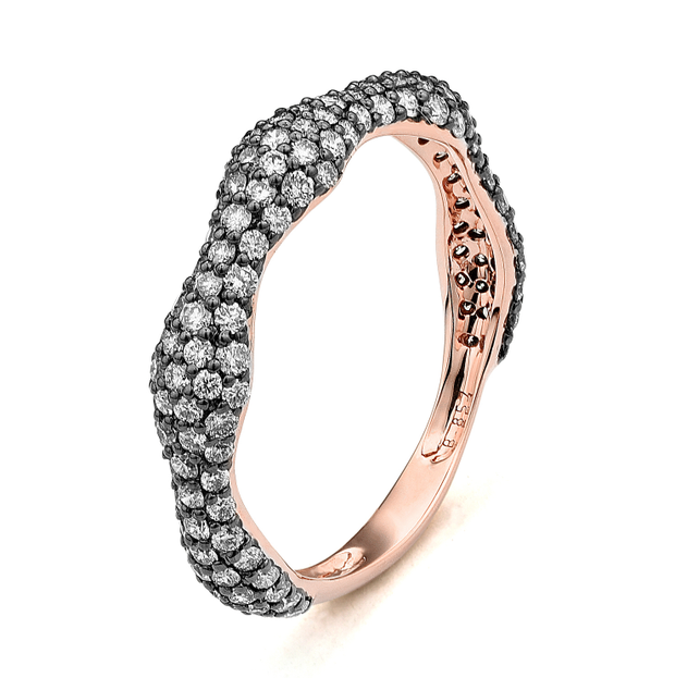 Rose | Black Rhodium Gold Stackable Ring