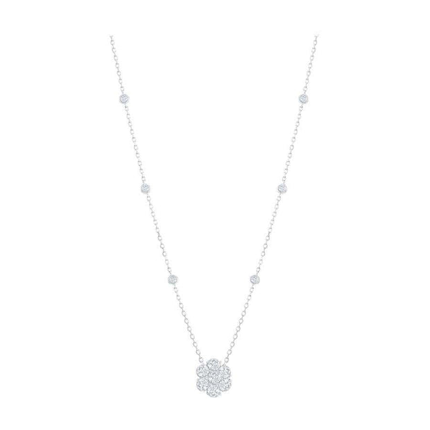 Diamond Cluster Pendant Necklace with Diamonds by the Yard Chain 1.30ct Center Cluster