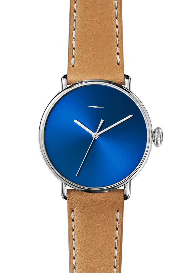 The Canfield Bolt 43mm 20mm Blue Sandblast Sunray Natural Leather Strap