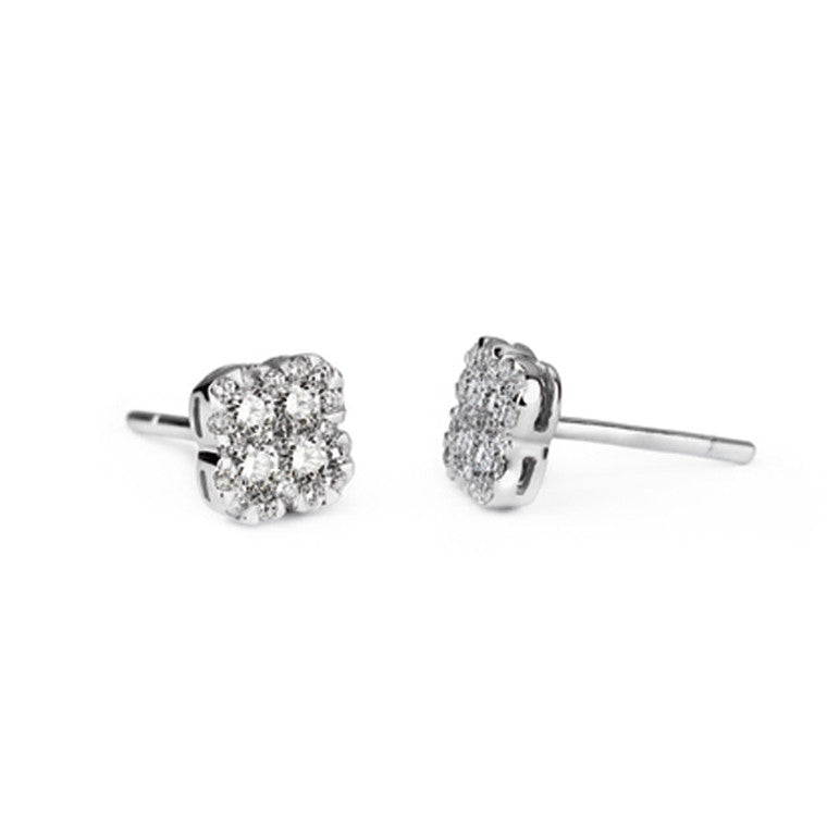 D for Diamond Clover Stud Earrings