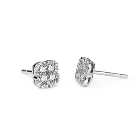 Copy of Pave Diamond Clover Stud (0.30cts), , Earring, D'Amore Jewelers, D'Amore Jewelers