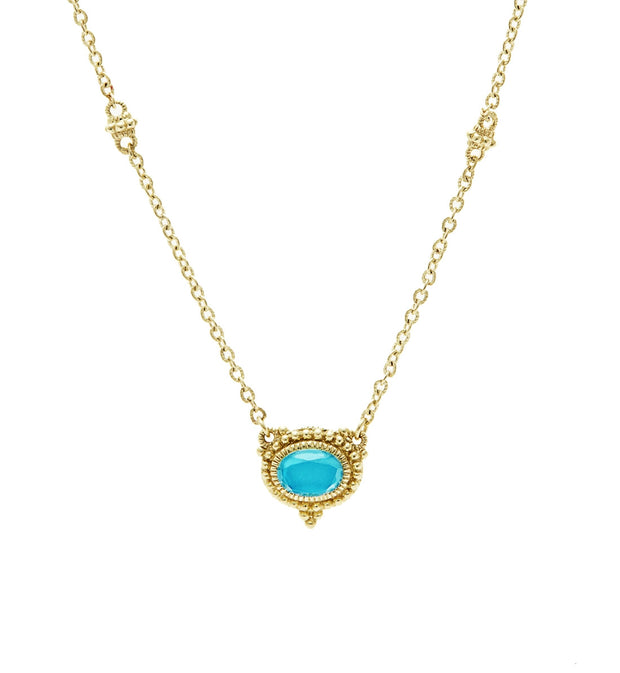 La Petite Turquoise Oval Pendant Necklace, , Necklace, Judith Ripka, D'Amore Jewelers  - 1