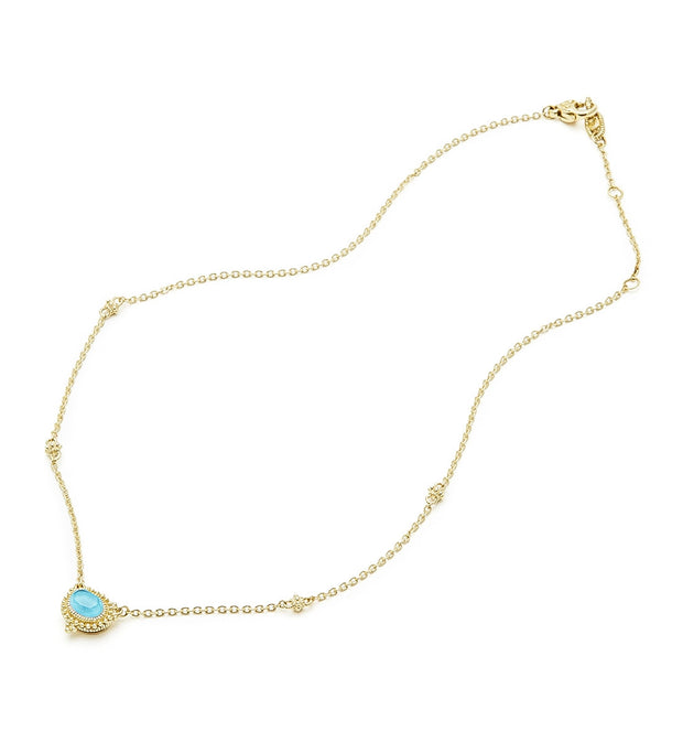 La Petite Turquoise Oval Pendant Necklace, , Necklace, Judith Ripka, D'Amore Jewelers  - 2