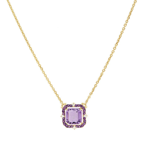 Lila Asscher Cut Lavender Amethyst Pendant Necklace, , Necklace, Judith Ripka, D'Amore Jewelers  - 1
