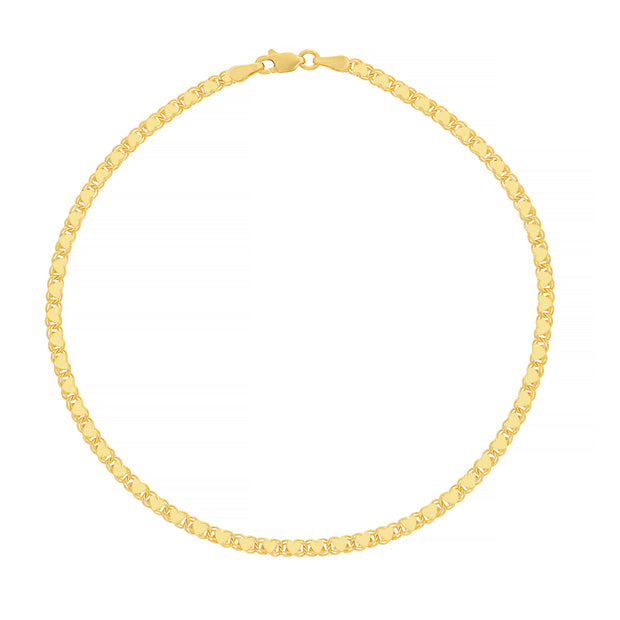Yellow Gold Heart Chain Ankle Bracelet