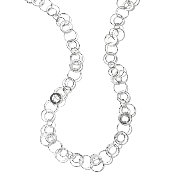 Crinkle Hammered Jet Set Necklace in Sterling Silver