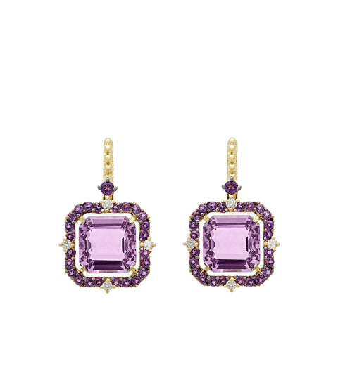 Lila Asscher Cut Lavender Amethyst Drop Earrings, , Earring, Judith Ripka, D'Amore Jewelers  - 1