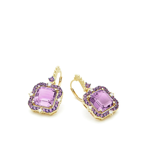 Lila Asscher Cut Lavender Amethyst Drop Earrings, , Earring, Judith Ripka, D'Amore Jewelers  - 2