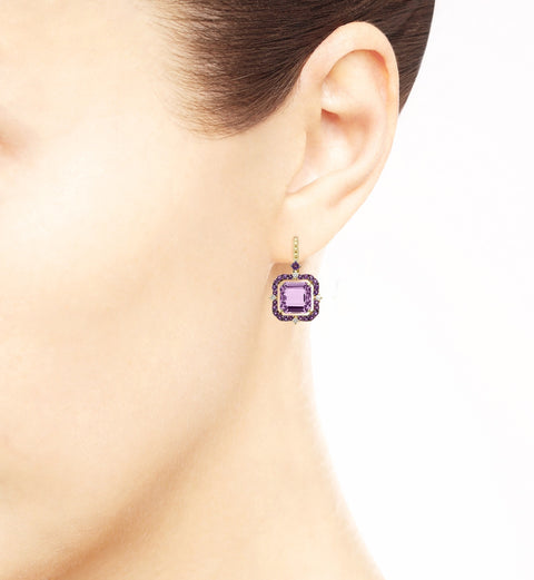 Lila Asscher Cut Lavender Amethyst Drop Earrings, , Earring, Judith Ripka, D'Amore Jewelers  - 3