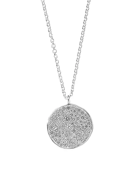 Medium Flower Pendant Necklace in Sterling Silver with Diamonds