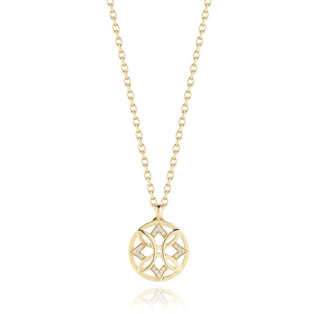 ABERDEEN SMALL WOVEN DIAMOND DISK NECKLACE, , Necklace, Ivanka Trump, D'Amore Jewelers