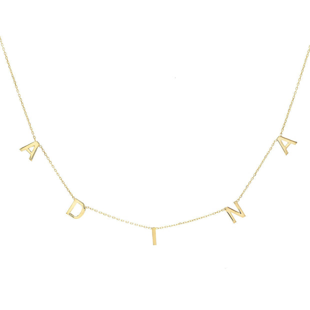 Name Necklace - Dangle Cable Chain Name Necklace 14kt Yellow Gold