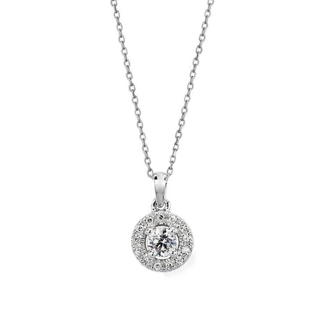 Diamond Halo Pendant Necklace Round, , Necklace, D'Amore Jewelers, D'Amore Jewelers