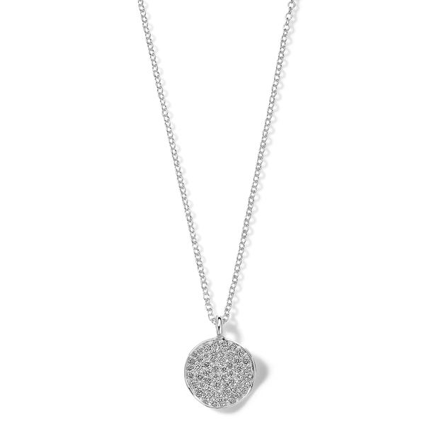 Small Flower Pendant Necklace in Sterling Silver with Diamonds