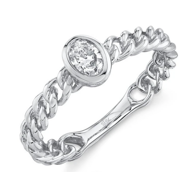 0.23CT DIAMOND OVAL RING