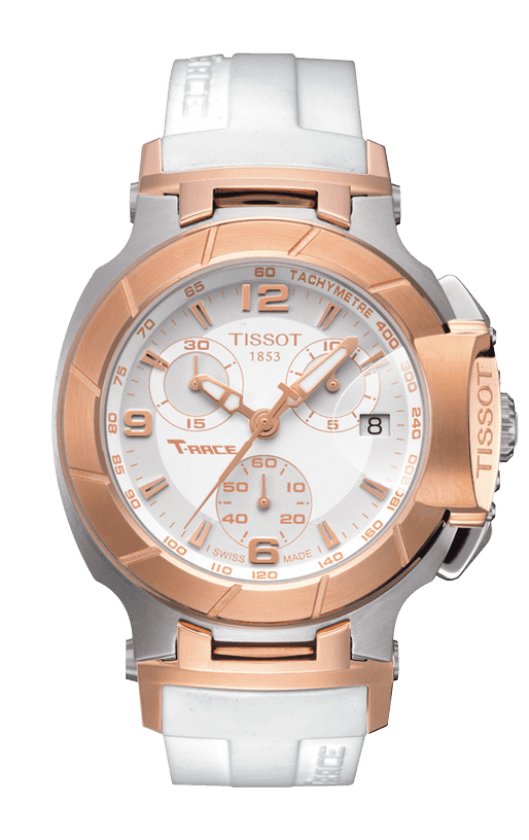 TISSOT T-RACE WOMEN'S QUARTZ CHRONOGRAPH ROSE GOLD PVD CASE WHITE DIAL WATCH WITH WHITE RUBBER STRAP, , Watches, Tissot, D'Amore Jewelers