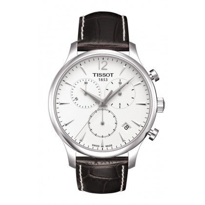 Tissot Tradition Men's Chrono Quartz Silver Dial Watch with Brown Leather Strap, , Watches, Tissot, D'Amore Jewelers