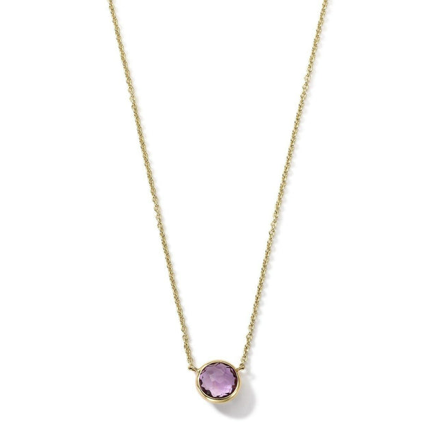 MINI PENDANT NECKLACE IN 18K GOLD - Amethyst