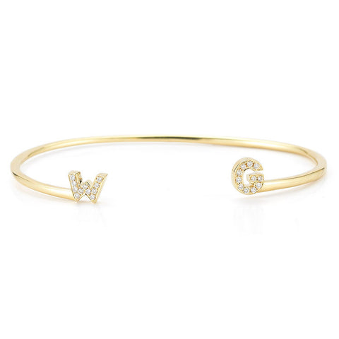 INITIAL YELLOW GOLD CUFF, , Bracelet, Dana Rebecca Designs, D'Amore Jewelers  - 2