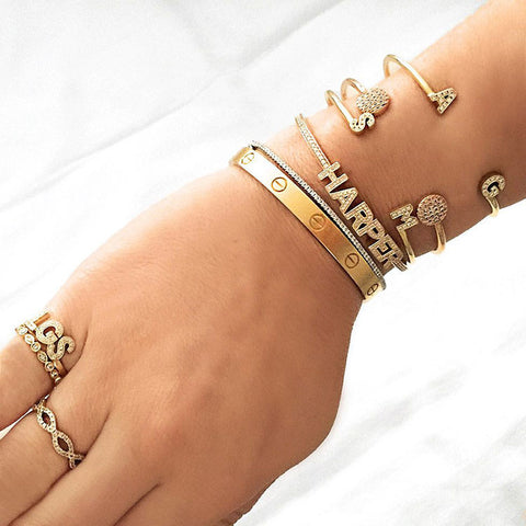 INITIAL YELLOW GOLD CUFF, , Bracelet, Dana Rebecca Designs, D'Amore Jewelers  - 3