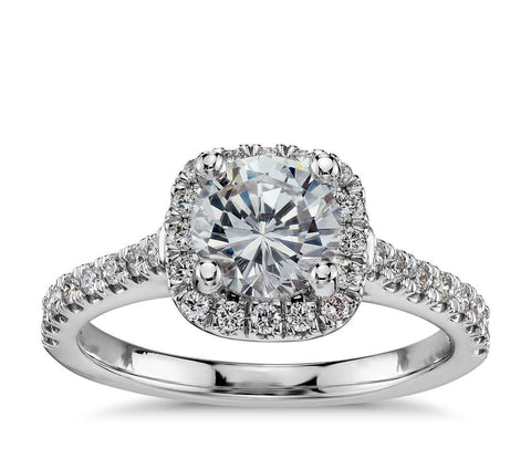 Cushion Halo Diamond Ring, , Ring, D'Amore Jewelers, D'Amore Jewelers