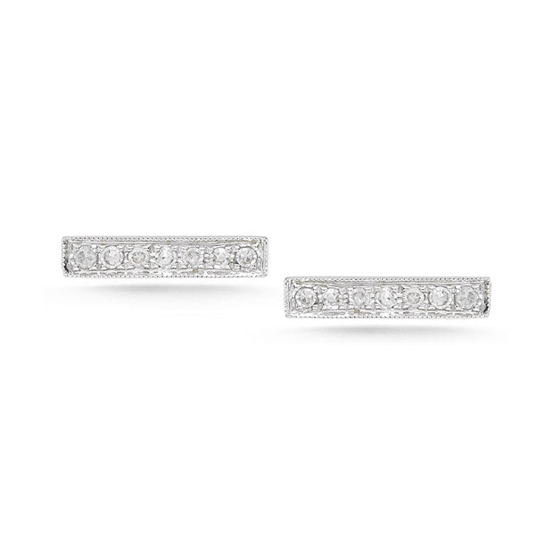 SYLVIE ROSE DIAMOND BAR EARRINGS WHITE GOLD, , Earring, Dana Rebecca Designs, D'Amore Jewelers  - 1