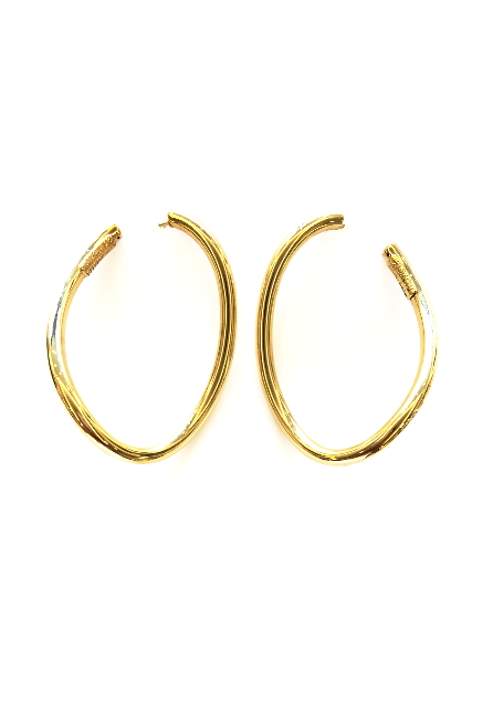 Yellow Gold Oblong Hoops, , Earrings, Oromalia, D'Amore Jewelers