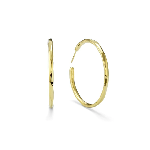 Large Faceted Hoop Earrings in 18K Gold
