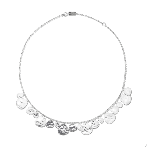 Crinkle Hammered Short Nomad Necklace in Sterling Silver